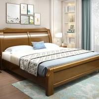 恒兴达 新中式实木双人床 (1.8*2米胡桃色 单床)