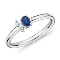 Blue Nile 藍寶石與鉆石雙疊戴戒指