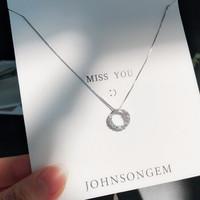 JG925纯银项链女镶施华洛淡风送女友生日礼物 光环项链+蓝色永生花礼盒 *2件