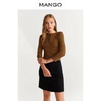 MANGO女装连衣裙棱纹针织条纹对比色长袖连衣裙