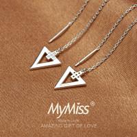 MyMiss ME-0241 925银几何耳环三角形长款耳钉耳线
