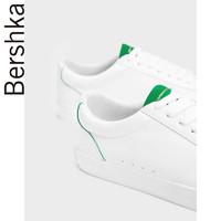 Bershka男鞋 新款白色平底休闲板鞋运动鞋小白鞋 14042032001
