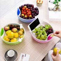 MOYOU 双层嗑吃瓜子盘 懒人沥水果盘盒 随机色2个装