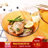 法国多莱斯DURALEX 西餐菜盘子饺子深汤盘零食盘 2只 19.5*3.6cm 琥珀色 *4件