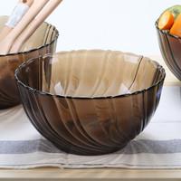 法国多莱斯钢化玻璃大号沙拉碗水果汤碗微波炉适用2600ml 2只装 咖啡色 *3件
