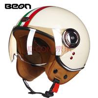 BEON摩托车复古头盔男女四季电动车半盔机车个性酷安全帽冬季保暖