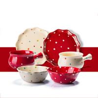 ezicok 陶瓷碗波点沙拉碗盘 可爱泡面碗盘子碗碟餐具套装 浪漫红米 *4件