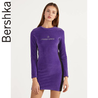 Bershka女士 2020春季新款天鹅绒紫色拼接修身连衣裙 00515326654
