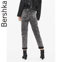 Bershka女士 2019秋季新款休闲紧身系腰带小脚牛仔裤 05215019810