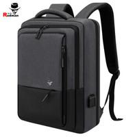 莱弗世 RAFFLES 双肩包私模笔记本电脑包商务男士手提休闲背包设计师款时尚书包13.3-15.6英寸 003深灰拼黑色