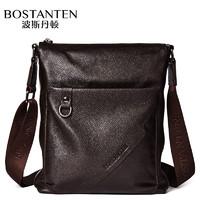 波斯丹顿头层牛皮单肩包男斜挎包竖款休闲商务公文包手提包包