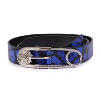 VERSACE VERSUS 范思哲 范瑟丝 奢侈品 男士蓝色皮质狮头针扣皮带腰带 FCU0104 FVAN F875N 100