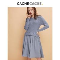 CacheCache新款法式少女修身假两件针织衫拼接连衣裙女春秋中长款
