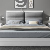 木月 北欧现代简约布艺软包床 +弹簧椰棕床*1+床头柜*2