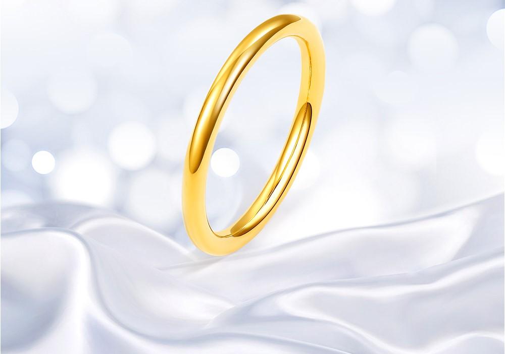 CHOW TAI SENG 周大生 Y0AC0023 三生三世 女款黄金戒指 光面 0.6g 14号 金色