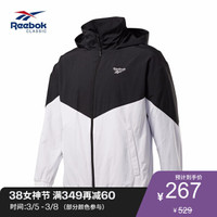 Reebok运动经典CL YS WINDBREAKER 男子夹克GHW50 EJ8453_黑色/白色 A/M