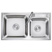 科固(KEGOO)K10035 厨房水槽双槽龙头套装 304不锈钢拉伸槽洗菜盆洗碗池76*41
