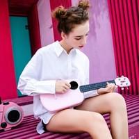 Populele2二代智能尤克里里23英寸复合碳纤维材质小吉他学生乌克丽丽初学者ukulele 粉色