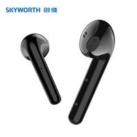 创维(Skyworth) 真无线蓝牙耳机自营游戏运动降噪半入耳式单双耳苹果小米华为手机通用 黑色 Skypods P1