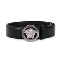 VERSACE 范思哲 奢侈品 男士黑色皮革银色八角形美杜莎板扣皮带腰带礼盒 DCU6715 DVTP1 D41PS 95cm