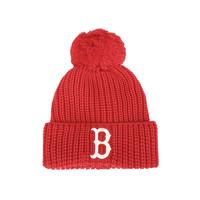 MLB 新款本命年NY基础大标毛绒球针织红色毛线帽