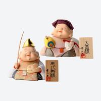 日本 松崎人形 七福神之惠比寿和大黑 招财招福 风水套装