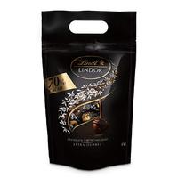 Lindt 瑞士莲 Lindor 系列软心巧克力球 特浓黑巧克力 70% 81粒 1kg装 *2件
