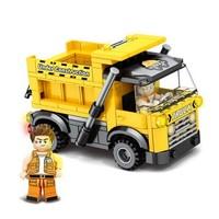 开益 儿童积木拼装 城市工程车模型 168颗