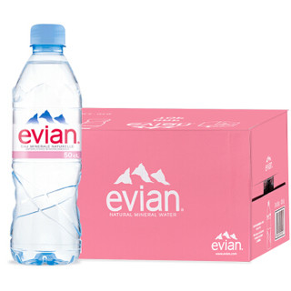 依云矿泉水500ml整箱24瓶evian天然饮用水 法国原装进口弱碱性依云水 2021年3月到期 *4件