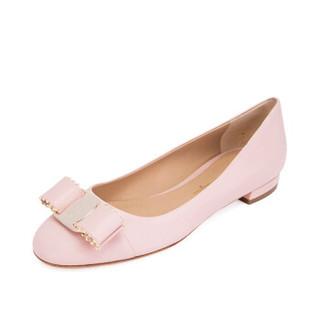 FERRAGAMO 菲拉格慕女鞋 女士VARINA粗跟平底鞋牛皮正装单鞋 粉色01N554 692152 6.5/37