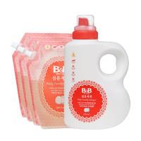 黑卡会员:B&B 保宁 婴幼儿洗衣液新款 1800毫升+替换装2100毫升*3