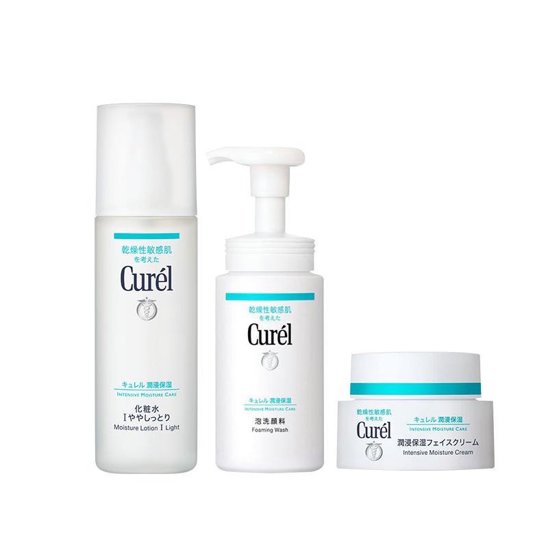 618预售 : Curel 珂润 润浸保湿护肤套组(洁面150ml+化妆水150ml+面霜40ml)