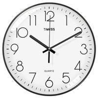 Timess 挂钟 钟表客厅时钟14英寸卧室石英钟挂表静音细边设计P31-2黑色
