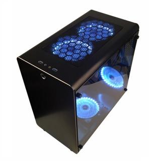 SKTC机箱Q5铝机箱ATX大板游戏机箱钢化玻璃侧透240水冷机箱 黑色单面钢化玻璃