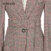 MO&Co. edition EA183BLA106 格子西装外套女秋款复古威尔斯格纹收腰显瘦 moco 浅驼格色