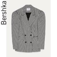 Bershka 巴适卡 00985168060-28 女士 2020春新款格子蓬肩袖西装外套廓形西服 深灰色