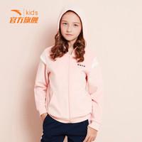 安踏(ANTA)官方旗舰店儿童童装女中大童连帽针织运动上衣卡通外套开衫