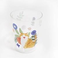 PAMPAS 潘帕斯  595015518974 妙吉MEWJI原创萌插画可爱猫咪玻璃杯透明果汁牛奶杯水杯图案合集