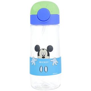 迪士尼塑料杯 儿童吸管水杯子Tritan材质夏季学生水壶 360ML蓝绿 *2件