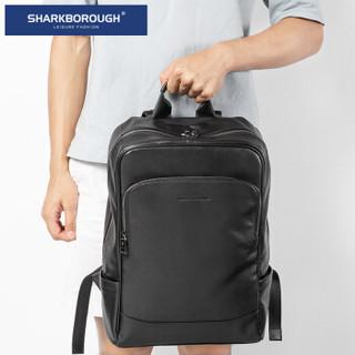 sharkborough 男士真皮双肩包男 大容量多功能商务电脑背包旅行包休闲书包韩版潮 黑色【头层小牛皮】