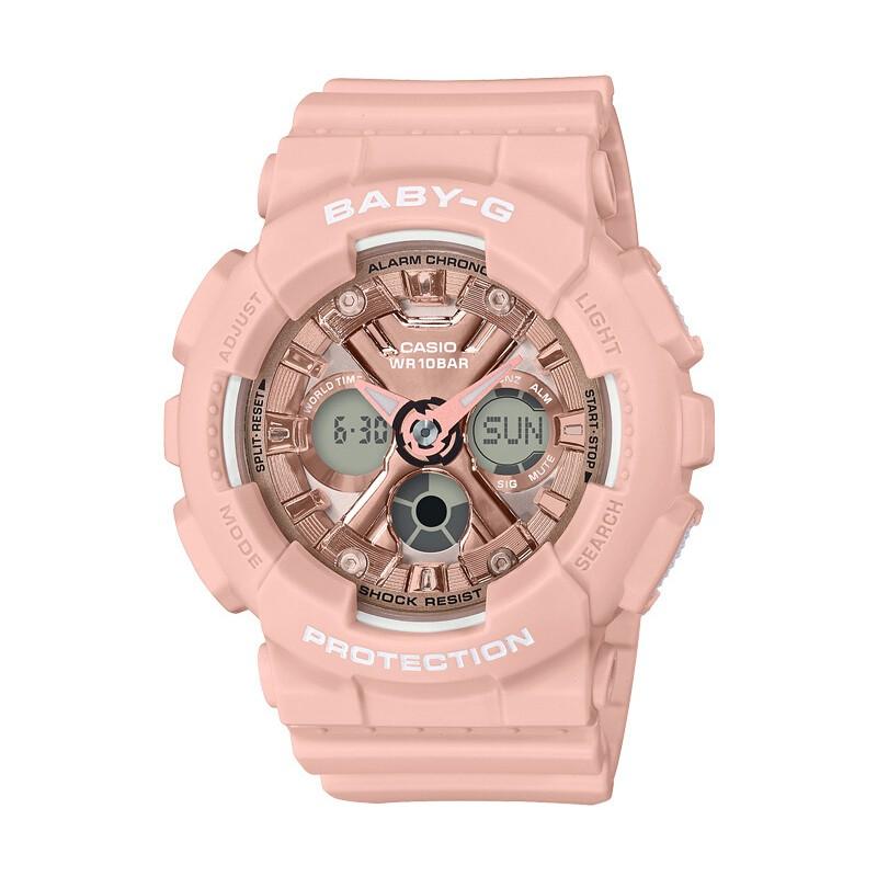 CASIO 卡西欧 BABY-G系列 BA-130-4APRL 女士石英手表 43.3mm 树脂表带 圆形 粉色