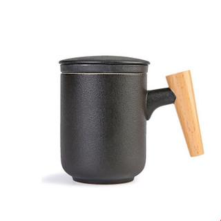 Le Bronte 朗特乐 茶水分离陶瓷茶杯 磨砂黑 300ml