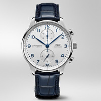 IWC 万国 IW371605 葡萄牙系列计时腕表 (41cm、蓝色鳄鱼皮表带、银白色盘)