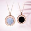 鸣钻国际 HEJD021 女款双面字母钻石项链