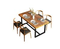 实木饭桌简约餐厅餐台桌现代北欧餐桌椅组合铁艺餐桌泡茶实木长桌