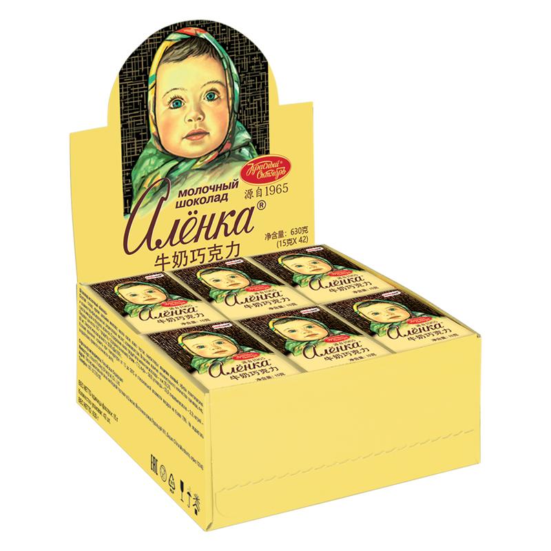 爱莲巧俄罗斯进口巧克力牛奶黑巧榛子味大头娃娃排块送女友礼盒装