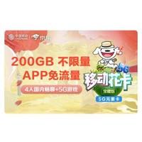 中国移动 花卡 宝藏版 畅享200G不限速  送2000京豆