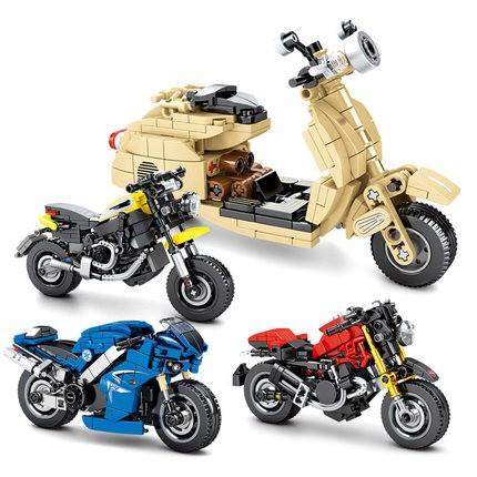 森宝 新品摩托车系列 701102 雅马哈R1小摩托 256片