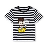 Balabala 巴拉巴拉 男童纯棉卡通印花短袖T恤 黑白 90cm