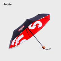 Subtle 707雨伞女三折叠太阳伞黑胶防晒防紫外线男女潮牌创意晴雨伞遮阳伞 TURE RED 猩红风暴 *3件